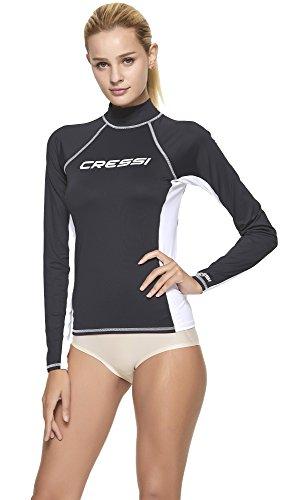Cressi Damen Rash Guard Lady Long Sleeve - Schutzhemd mit langen Ärmeln, UV-Schutz (UPF), Schwarz/Weiß, XS/1 (36)