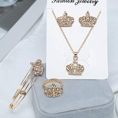 Yienate Joyería de la corona del Rhinestone de la moda conjunto de cuatro piezas exquisito collar de la corona pendientes anillo pulsera abierta elegante accesorios de joyería para mujeres y niñas