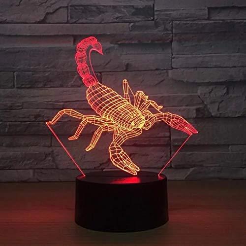 Scorpion 3D luz de noche de acrílico multicolor luces LED decoración regalos de vacaciones