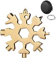 Huker Multifunctionele gereedschapsleutelhanger, roestvrij staal, 18-in-1 draagbare schroevendraaier, sneeuwvlok-design,...