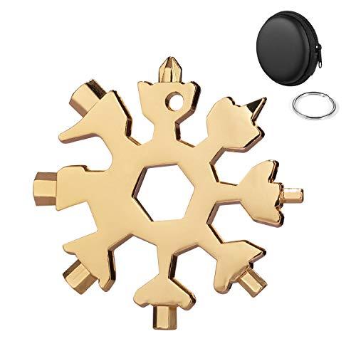 Huker Multitool Edelstahl Fahrrad Multifunktionswerkzeug,18-in-1 Schneeflocke Multitool Karte, tragbare Schraubendreher Schlüsselanhänger Flaschenöffner Ringschlüssel Sechskantschlüssel (Golden)