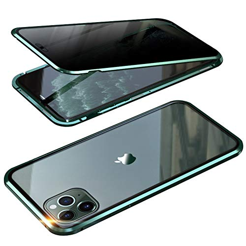 KMXDD Anti-Peeping iPhone 11 Pro Max 360° Full Body Case,Clear Double Sided Tempered Glass [Magnetic Adsorption] Metal Bumper Privacy Screen Cover for iPhone 11 Pro Max (Green, iPhone11ProMax)