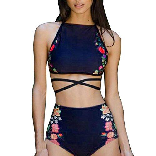 SUCES Bikini Frau Sexy Bikini Legen Sie Badebekleidung Bandage Badeanzug Hochdrücken 2 Stück Weste Gepolstert  Drucken BH Badeanzug Strandkleidung Mode Badeanzüge (S, Blau)