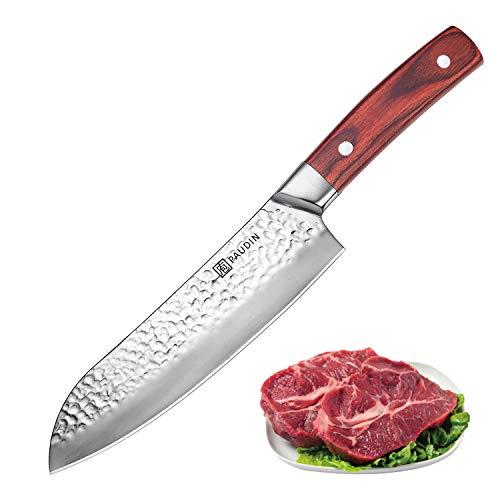 PAUDIN Santokumesser 17cm, Profi Kochmesser 7Cr17Mov aus deutschem Messerstahl mit Hammerschlag, Sushi Messer Küchenmesser mit ergonomischem Griff