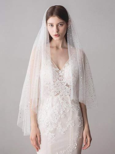 Vakkery Velo de boda de encaje con peine, lentejuelas blancas, velos de novia de doble capa, longitud de cintura, accesorios para el pelo de novia para mujeres y niñas