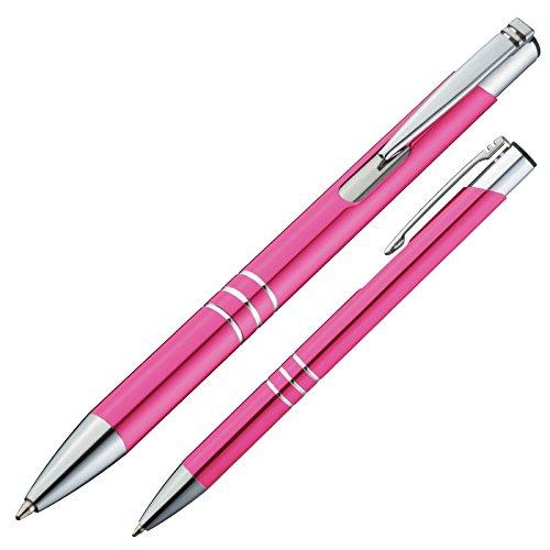 10 Kugelschreiber aus Metall / Farbe: pink