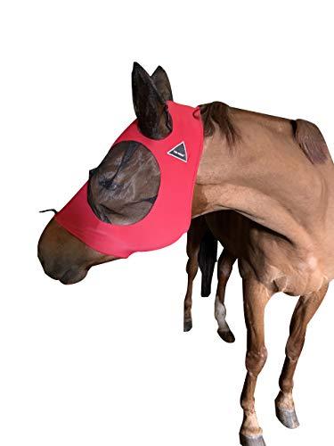Fliegenmaske mit Ohren von TGW Riding, besonders bequem, Lycra-Griff, weiches Netzgewebe, Pferdemaske mit Ohren, L, hellrot