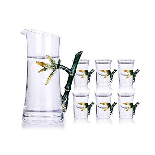 Copas de cóctel, Juego de decantores de whisky para hombres CAJA DE VINO CABALLA COLOR DE ESAMBRE COLOR CUBIERTA DE LA BAJA BAQUETA BAQUETA Siete Sabios Set de licor Conjunto de regalo de vino Conjunt