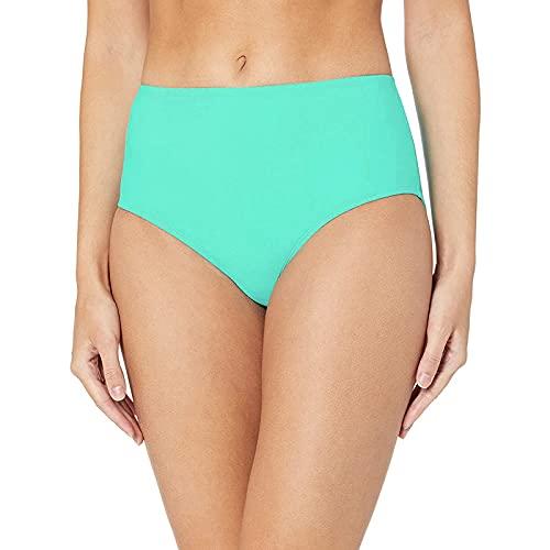 BIBOKAOKE Bikini para mujer de cintura alta, pantalones cortos clásicos, pantalones cortos de bikini, traje de baño de cintura alta, cómodo, slip de baño, traje de baño, Grün11, L