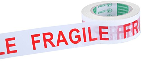 Juvale Fragile Adhesive Warning Tape - Heavy Duty White Red Handle with Care Packing Packaging Shipping and Handling Tape Rolls - 100 Meters