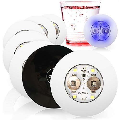 com-four® 8X LED Sticker für Flaschenbodenbeleuchtung - dekorative Gläserbeleuchtung - Bunte LEDs - Getränkelicht für Partys (8 Stück - bunt)