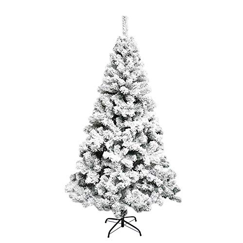 Snow Flocked Christmas Tree 6ft, Artificial Frost Christmas Tree Hinged Xmas Tree 700 Branch Tips Unlit White Pine Christmas Tree for Holiday Festival Decoration with Tree Storage Bag and Metal Stand