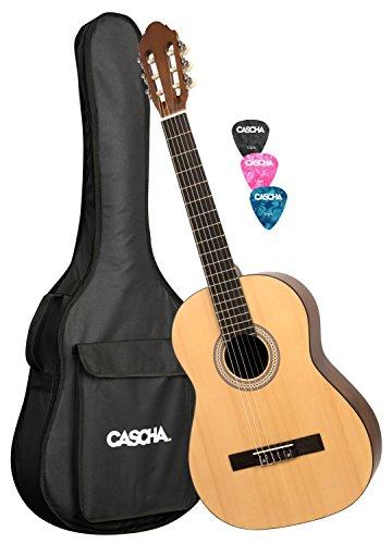 CASCHA HH 2042 Konzertgitarre 4/4 Set, natur matt, Fichtendecke, gepolsterte Tasche mit Notenfach und Rucksackgarnitur, 3 Plektren