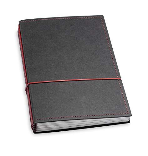 A5, revolutionäres X17-Notizbuch/Personal Organizer! Vegan! Deutsches Zellulose-Material, schwarz + rot; Inhalt: 4 Notizhefte (blanko, liniert, kariert, gepunktet) austauschbar=nachhaltig!