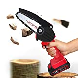 BAULANNA Battery Chainsaw Cordless 4-Inch Mini Electric Chainsaw No Assembly Required 0.7KG One-Hand Electric Pruning Saw with Anti Splash Baffle for Garden Shrub Gardening Tree Wood Cutting