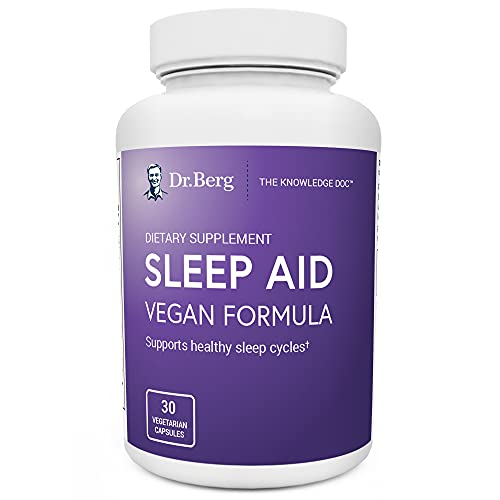 Dr. Berg Sleep Aid Vegan Formula – All-Natural Support for Normal Sleep Cycles to Fight Fatigue & Aid Stress – Best Non-Habit-Forming Supplements (1 Pack)