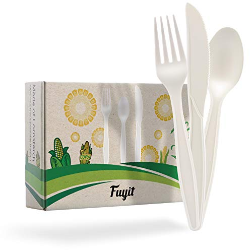 Fuyit 150 Count Compostable Cutlery Set, Disposable Biodegradable Utensils Eco-friendly Durable Cornstarch Flatware Includes 50 Forks, Knives & Spoons for Party, BBQ, Picnic & Potlucks (White)