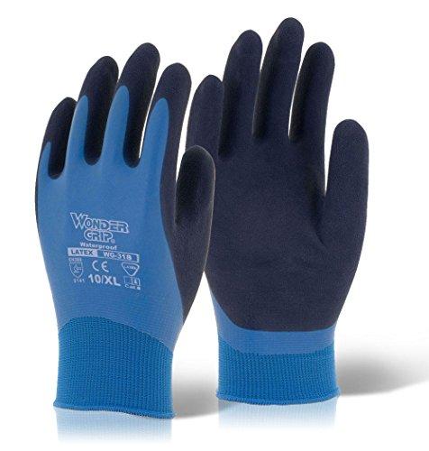 Wonder Grip WG-318 Aqua Wasserdichte Handschuhe, Blau/Schwarz, XL/10