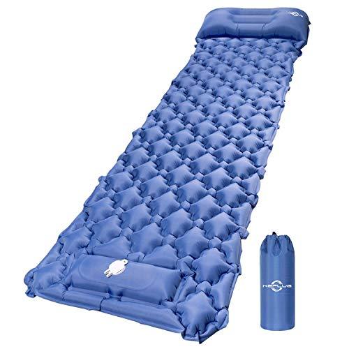 KEPLUG Isomatte selbstaufblasend Camping, luftmatratze Camping mit Fußpresse Ultraleicht, ufblasbare matratze für Camping, Strand, Reise, Outdoor, Wandern 195x60x6cm (Marineblau)