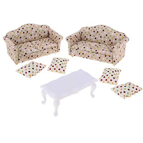 Sharplace 1/12 Mobili in Miniatura per Casa delle Bambole Cuscini per Divani E Tavolino per Soggiorno