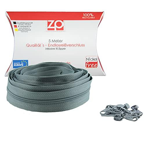 Zipp & Slide® 3 mm Endlosreißverschluss - Nickel Frei! - 5 Meter inkl. 10 Zipper, Grau