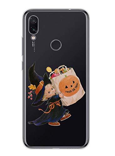Oihxse Compatible con Xiaomi Mi 9 SE Funda Silicona Transparente Suave Gel TPU Carcasa Ultra-Delgado Patrón Protector Caso para Redmi Mi 9 SE Cover Bumper (Calabaza niña)