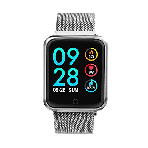 SSXZ Reloj Inteligente Reloj Inteligente Impermeable IP68 para Mujer Bluetooth 4.0 para Apple iPhone xiaomi Monitor de Ritmo cardíaco Rastreador de Ejercicios P68-plata