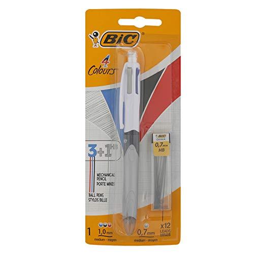 BIC 4-Farb-Druckkugelschreiber Colours HB, 1 Stift mit 12 Bleistiftminen, Multifunktionsstift: Schwarze, blaue & rote Farbmine & 1 Bleistiftmine plus Radierer