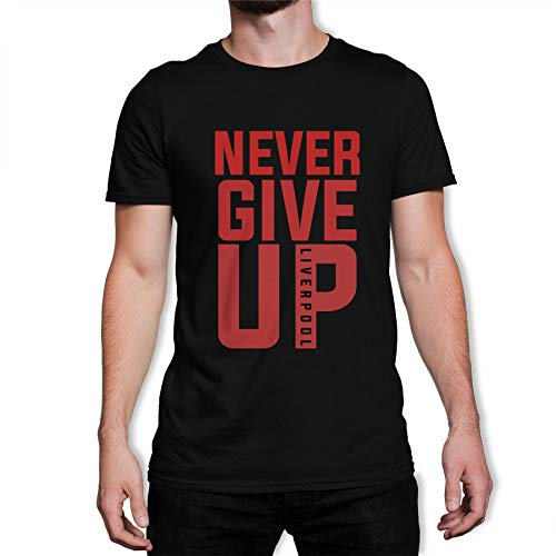 London Co. Never Give Up Liverpool FC 2019 Champions League Red Text Men's Black T-Shirt