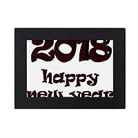 2018年の新年の素敵なフォント デスクトップフォトフレーム画像ブラックは、芸術絵画7 x 9インチ