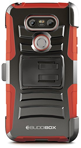 LG G5 Case, BUDDIBOX [HSeries] Heavy Duty Swivel Belt Clip Holster with Kickstand Maximal Protection Case for LG G5, (Red)