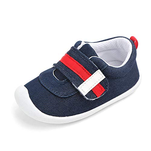 LIDIANO Baby Infant Toddler Non Slip Rubber Sole Crib Shoes First Walking Shoes Sneakers (6-12 Months Infant, Dark Blue)