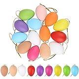 MiuCo 36 Pezzi Uova di Pasqua Decorate, Appendere Le Uova di Plastica con La Corda, Pittura di Artigianato Fai da Te di Pasqua per La Decorazione e Regalo