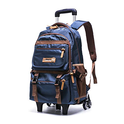 XWWS Wheeled Backpack - Waterproof Trolley School Bags, Removable Rolling Travelling Book Bag for Boys, Best Gift,Blue