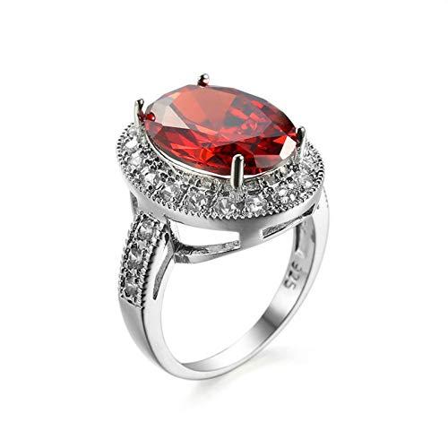 Daesar Anillos Mujer Compromiso,Chapado en Plata Anillo Rojo Oval Simple Cristal con Circonita Rojo Talla 17