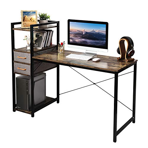 X-cosrack Computer Desk with Shelves Drawer, 53' Reversible Home Office Study Writing Table with Storage Bookshelf, Laptop Notebook PC Coner Desk, Rustic Industrial Style, Vintage Brown