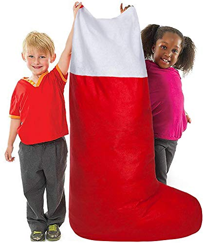 CXDY Jumbo Oversized Felt Christmas Stocking Red and White–60' Tall x 20' Wide