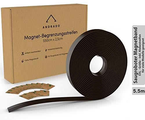 5.5m XXL Saugroboter Magnetband (inkl. Klebestreifen) - Begrenzungsstreifen für Staubsauger-Roboter - u.a. kompatibel mit Xiaomi Roborock, Neato, Vorwerk, Tesvor, Bagotte, Proscenic von ANDRADO
