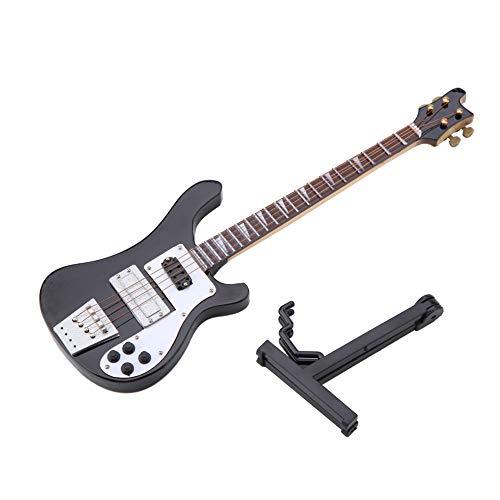 Candeon Miniatur-Bass - Schwarze Miniatur-Bassgitarren-Replik mit Ständer und Koffer Instrument Modell Ornamente Geschenk
