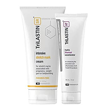 TriLASTIN-SR Maximum Strength Stretch Mark Cream with Hydro-Thermal Accelerator Bundle Minimize Appearance of Stretch Marks Paraben-Free Hypoallergenic Made in USA
