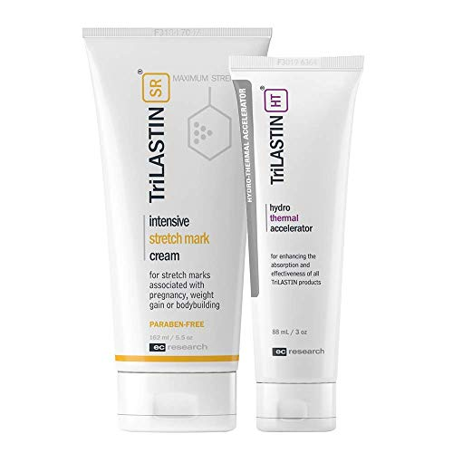 TriLASTIN-SR Maximum Strength Stretch Mark Cream with Hydro-Thermal Accelerator Bundle, Minimize Appearance of Stretch Marks, Paraben-Free, Hypoallergenic, Made in USA