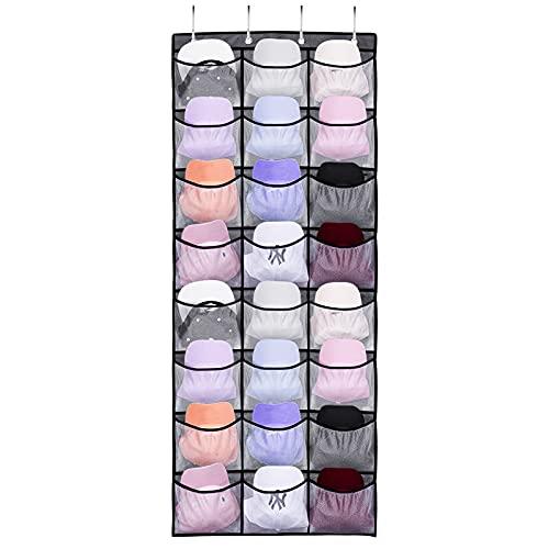 Victop Porta cappelli da baseball 24 tasche organizer per cappellini sopra la porta con tasche profonde trasparenti
