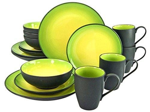 Creatable, 20220, Serie HOT Green, Geschirrset 16 teilig Kombiservice, Stein, Mehrfarbig, 34 x 31.5 x 33 cm, Einheiten