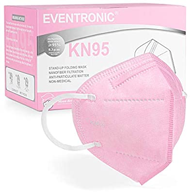 KN95 Face Mask 50 Pack, Eventronic 5-Layer Breathable Cup Dust Mask with Elastic Earloop and Nose Bridge Clip, Air Pollution, Pink from Eventronic