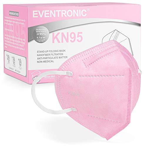 [50 Stück] FFP2 Maske CE 2797 Zertifiziert,Eventronic 5-Lagen hygienische,Atemschutz hohe Filtration, Partikelfiltermaske