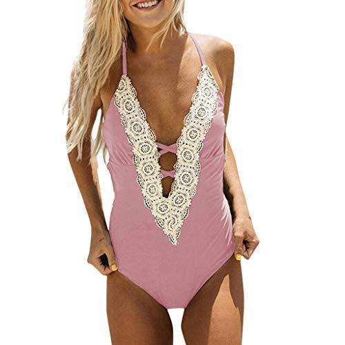 OPAKY Bikini de Encaje Vintage para Mujer de Moda Conjuntos de Bikini de Playa Traje de Baño Mujer Traje de una Pieza con Relleno Bañador Push up Ropa de Baño Cintura Alta Size