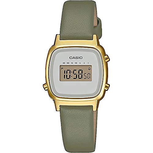 Casio Damen Digital Quarz Uhr mit Echtes Leder Armband LA670WEFL-3EF