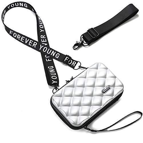 Handy Umhängetasche - Mode Damen Schultertasche Klein Geldbörse Crossbody Handtasche - Hart ABS+pc Kofferform mit Verstellbar Abnehmbar Schultergurt für Handy unter 6.5 Zoll (Rhombus Silber)