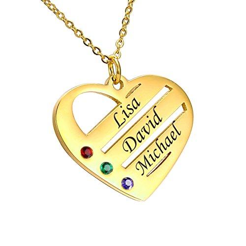 HooAMI Personalisierte Familienmitgliedernkette - Halskette mit Steinen - Geburtssteinkette - mit Gravur 2 Namen (3 Namen vergoldet)