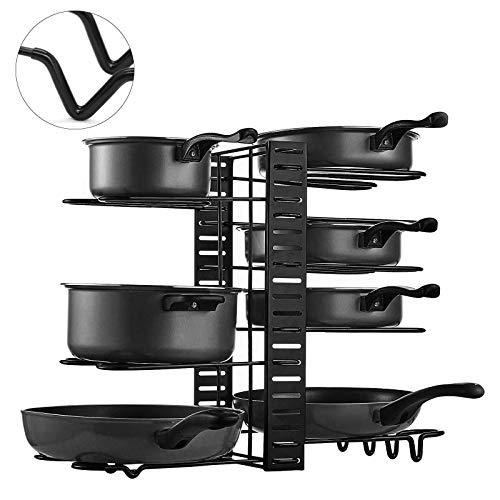 Organizador Ollas y Sartenes Soporte para Sartenes de Cocina Organizador Extensible con 8 Compartimentos Metálicos para Tapas de Ollas Sartenes y Macetas (Vertical (con protección de goma))